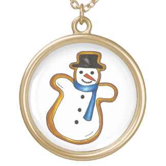 Snowman Christmas Cookie Winter Holiday Necklace
