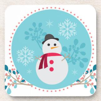 Snowman Christmas Cute Unique Turqoise Blue Beverage Coasters