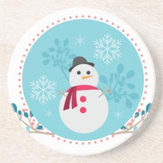 Snowman Christmas Cute Unique Turqoise Blue Drink Coasters
