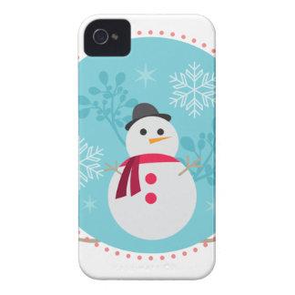 Snowman Christmas Cute Unique Turqoise Blue iPhone 4 Case-Mate Cases