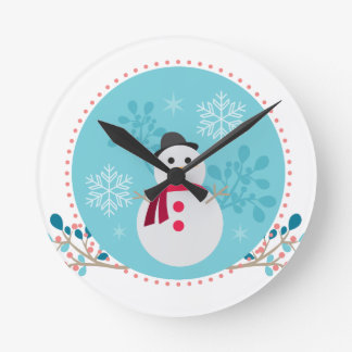 Snowman Christmas Cute Unique Turqoise Blue Round Clock