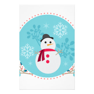 Snowman Christmas Cute Unique Turqoise Blue Stationery