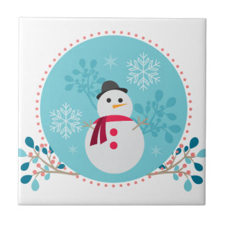 Snowman Christmas Cute Unique Turqoise Blue Tile