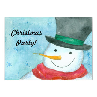 Snowman Christmas Party Invitation Watercolor Art
