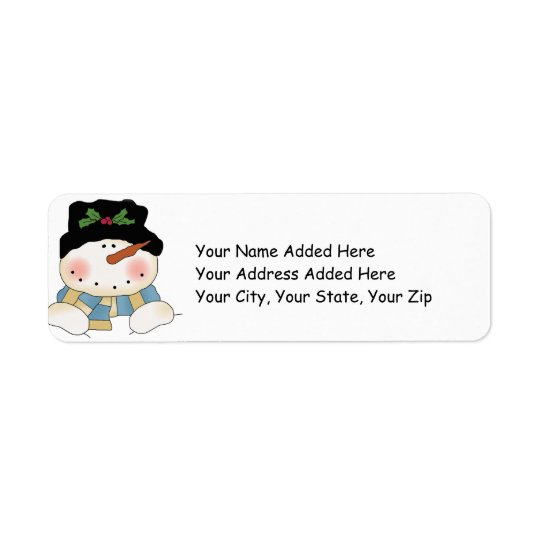 Snowman Christmas Return Address Labels