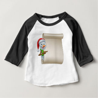 Snowman Christmas Scroll Baby T-Shirt