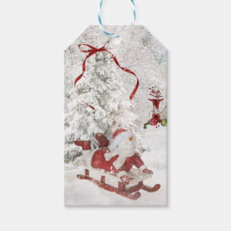 Snowman Christmas Snow Globe holly sled tags Pack Of Gift Tags