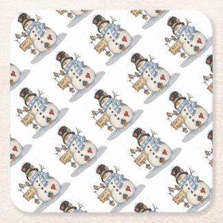Snowman Christmas Square Paper Coaster