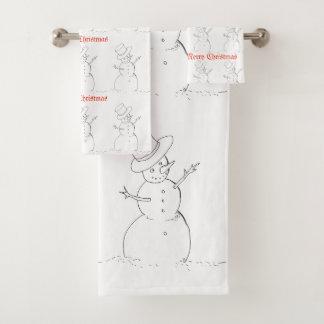 Snowman Christmas towels