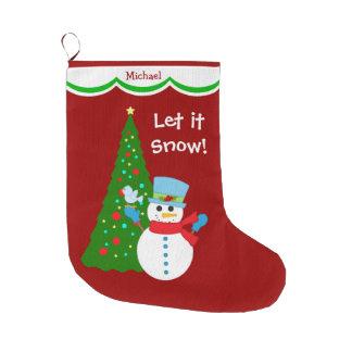 Snowman Christmas Tree Personalized Large Christmas Stocking