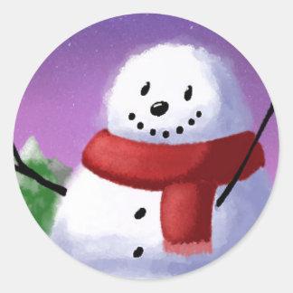 Snowman Classic Round Sticker, Glossy Round Sticker