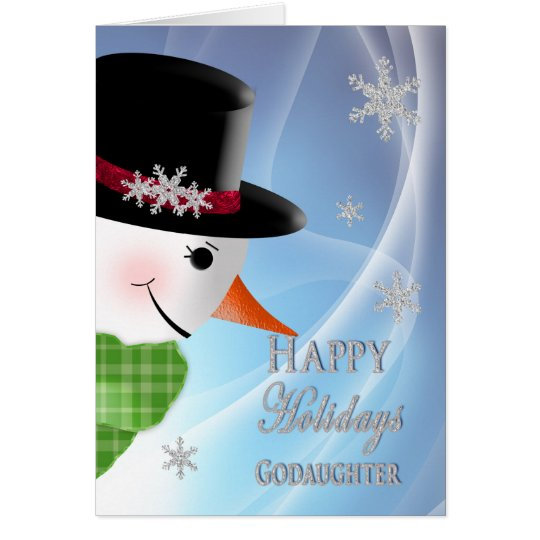 Snowman Close-up - Christmas -Godddaughter Card