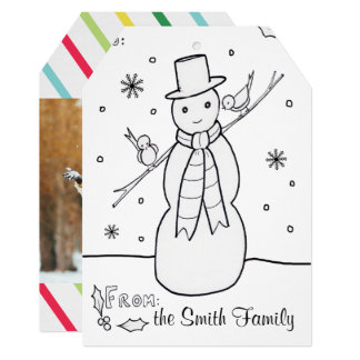 Snowman Coloring Holiday Card