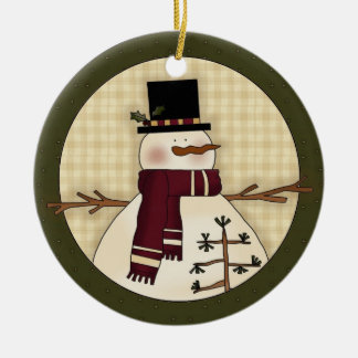 Snowman Country Christmas Keepsake Gift Ceramic Ornament