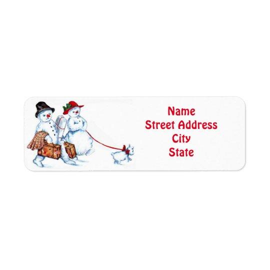 Snowman Couple & Dog Return Address Label