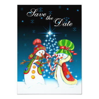 Snowman Couple Holiday Tree Save the Date Invite