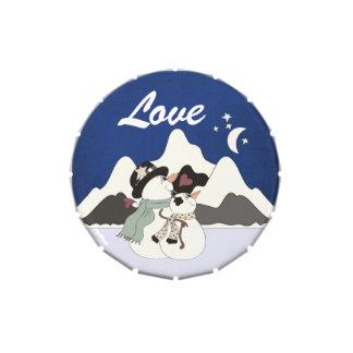 Snowman Couple Mountain LOVE Candy Tin Favor