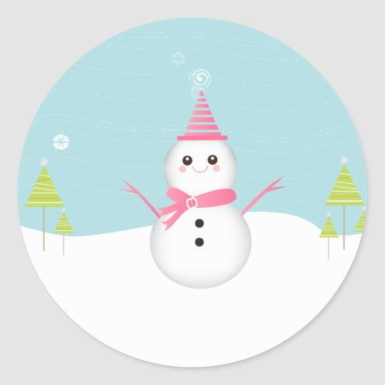 Snowman Cupcake Topper Stickers