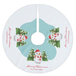 Snowman Custom Family Name Merry Christmas Brushed Polyester Tree Skirt