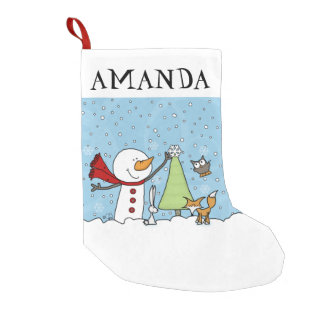 Snowman Decorates Tree with Woodland Creatures Small Christmas Stocking