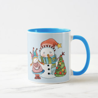 Snowman & Doll  11 oz Combo Mug