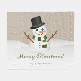 Snowman Drawing And Custom Family Name Christmas Fleece Blanket