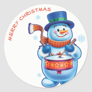 Snowman drummer Christmas label sticker