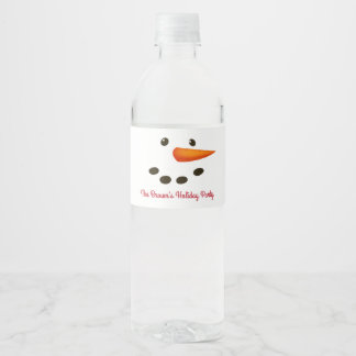 Snowman Face, Holiday Water Bottle Label