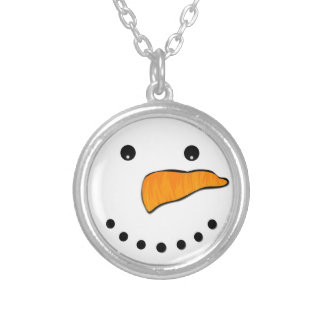 Snowman Face Silver Plated Necklace