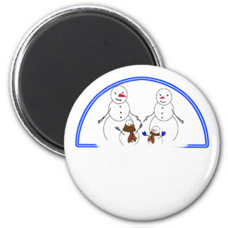 Snowman Family 2 Inch Round Magnet