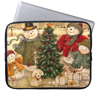 Snowman family at Christmas Laptop Computer Sleeve
