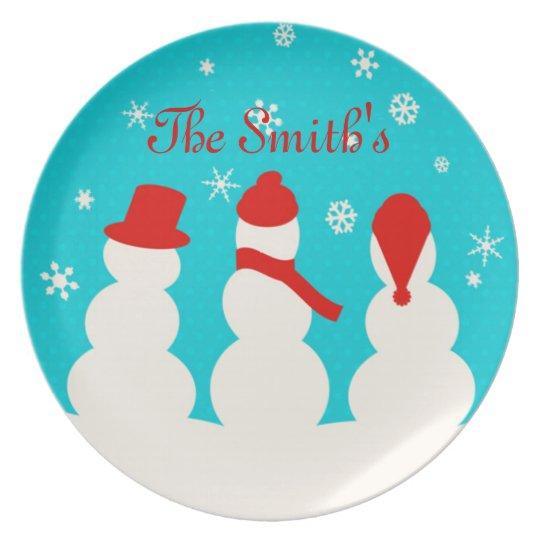 Snowman family dinner plate