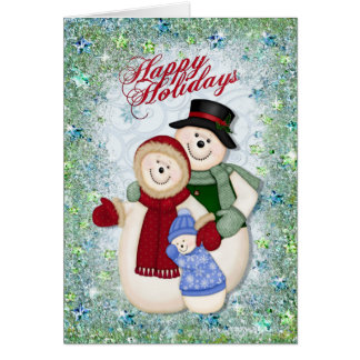 Snowman Family Glitter and Snowflakes Card
