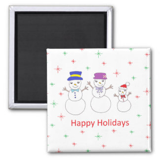 Snowman Family Happy Holidays Magnet