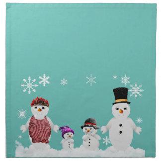 snowman family napkin