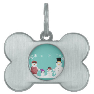 snowman family pet tag