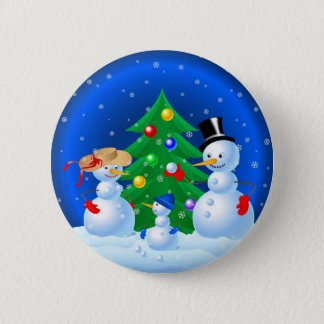 Snowman Family Playing Snowballs 2 Inch Round Button
