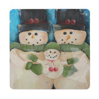 Snowman Family Puzzle Coasters Puzzle Coaster
