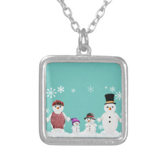 snowman family silver plated necklace
