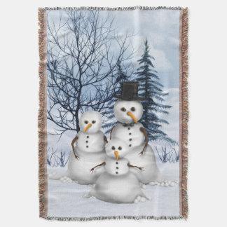Snowman Family Throw Blanket