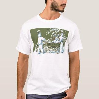 Snowman Family Walk Stroll Snow T-Shirt