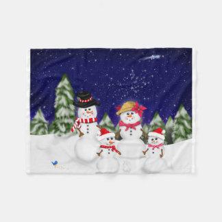 Snowman Family Winter Fleece Blanket