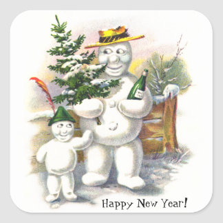 Snowman Father and Son Square Sticker