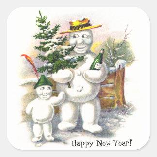 Snowman Father and Son Square Sticker