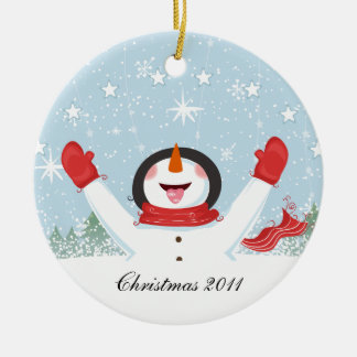 Snowman From Our House To Yours Ceramic Ornament