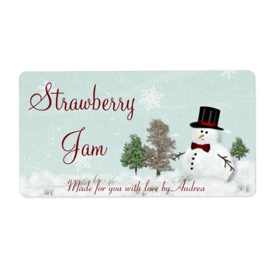 Snowman Gift Tag Sticker or Canning Label Shipping Label