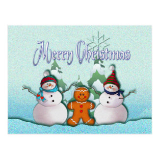 SNOWMAN & GINGERBREAD MAN by SHARON SHARPE Postcard