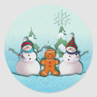 SNOWMAN & GINGERBREAD MAN by SHARON SHARPE Round Sticker