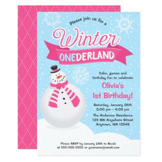 Snowman Girl Winter ONEderland 1st Birthday Invite