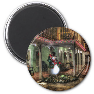 Snowman Greetings 2 Inch Round Magnet
